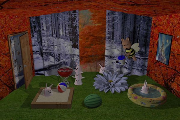 Image of bunnies in surreal room #2